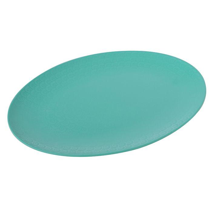 Fuente-oval-de-melamina-color-verde-remolino-35.5-cm