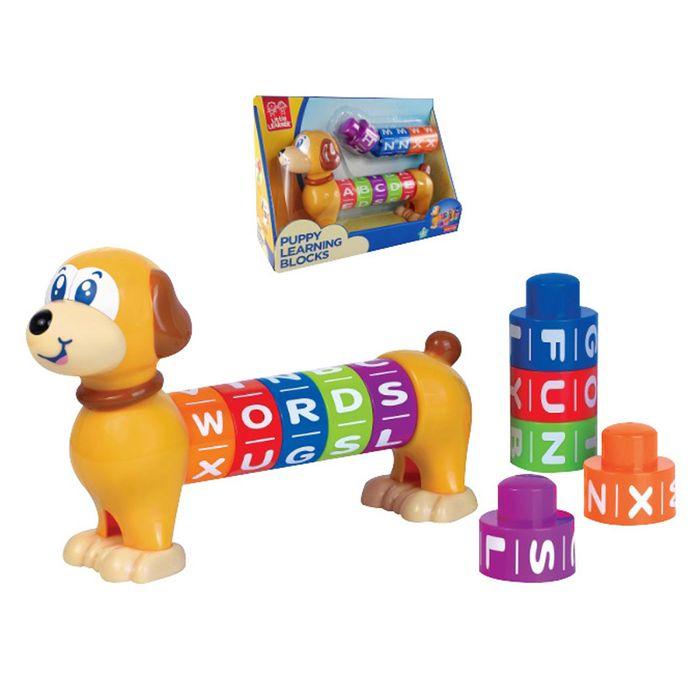 Perro-con-10-bloques-de-letras-encastrables