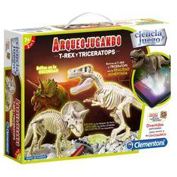 Arqueojugando-T-rex-y-Tri-ceratops
