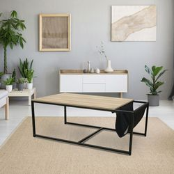 Mesa-baja-de-madera-y-metal-con-revistero-112x60x45cm