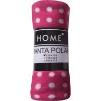 Manta-polar-HOME-2-plazas-200-x-225-cm-fucsia-con-lunares