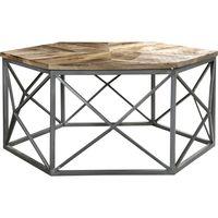Mesa-central-para-living-hexagonal-en-hierro-y-madera-maciza-38x100x100-cm