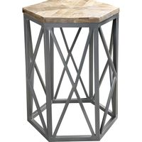 Mesa-lateral-para-living-hexagonal-hierro-y-madera-maciza-53x45x45-cm