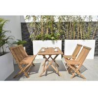 Mesa-rectangular---4-Sillas-plegables-en-madera