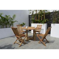 Mesa-redonda---4-Sillas-plegables-en-madera
