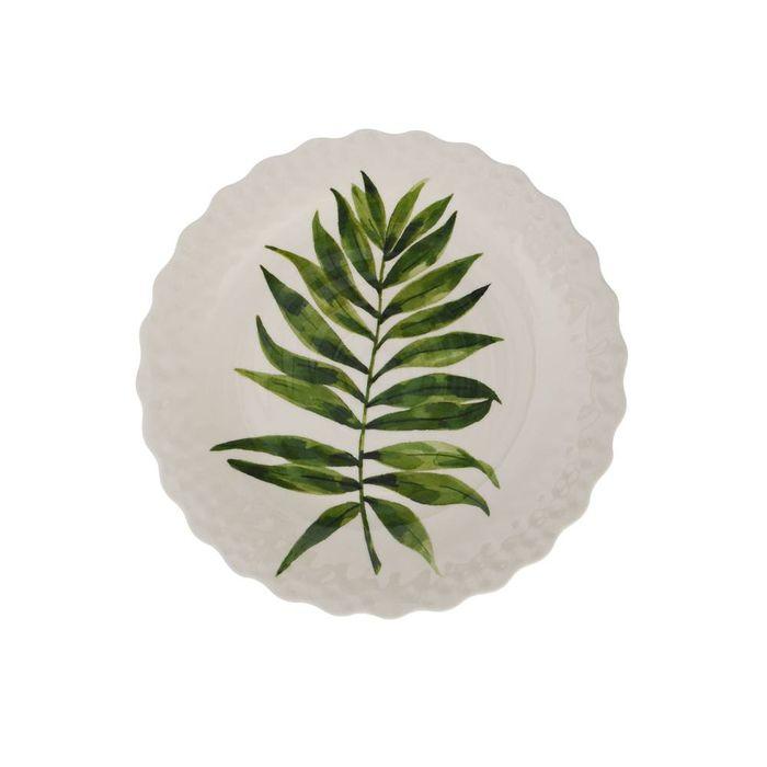 Plato-postre-en-melamina-hojas-verde-229-cm