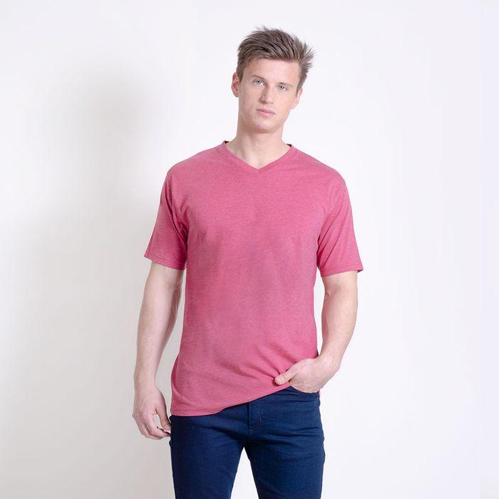 Camiseta-manga-corta-escote-en-V-lisa