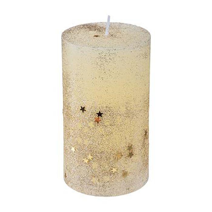 Vela-navideña-con-glitter-12-cm-amarilla