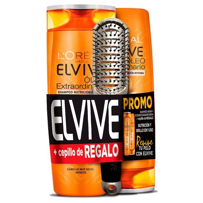 Pack-ELVIVE-Oleo-shampoo-400-ml---acondicionador-400-ml---cepillo