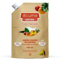 Jabon-liquido-en-espuma-ECUME-frutos-tropicales-750ml-repuesto